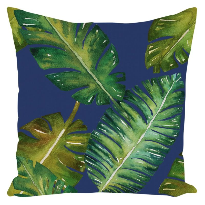 Miami Palm Throw Pillow Blue 16 x 16 with Insert