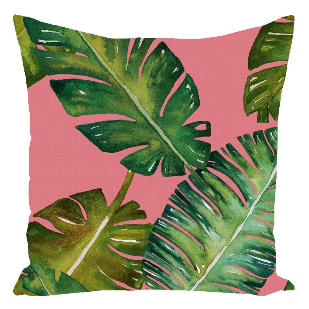 Tropical Palm Throw Pillow Pink With Zipper and Insert 16X16
