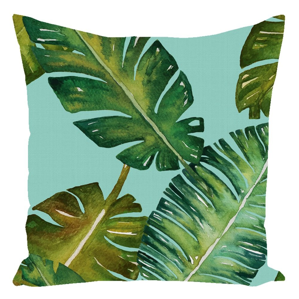 Tropical Palm Throw Pillow Turquoise With Zipper and Insert 16X16