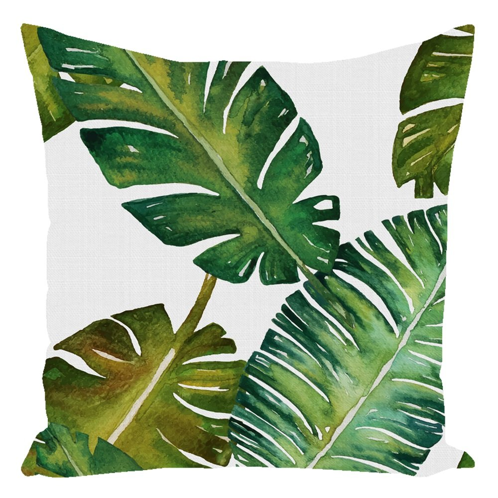 Tropical Palm Throw Pillow White With Zipper and Insert 16X16