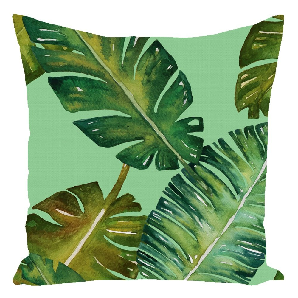Tropical Palm Throw Pillows Mint with Zipper and Insert 16X16