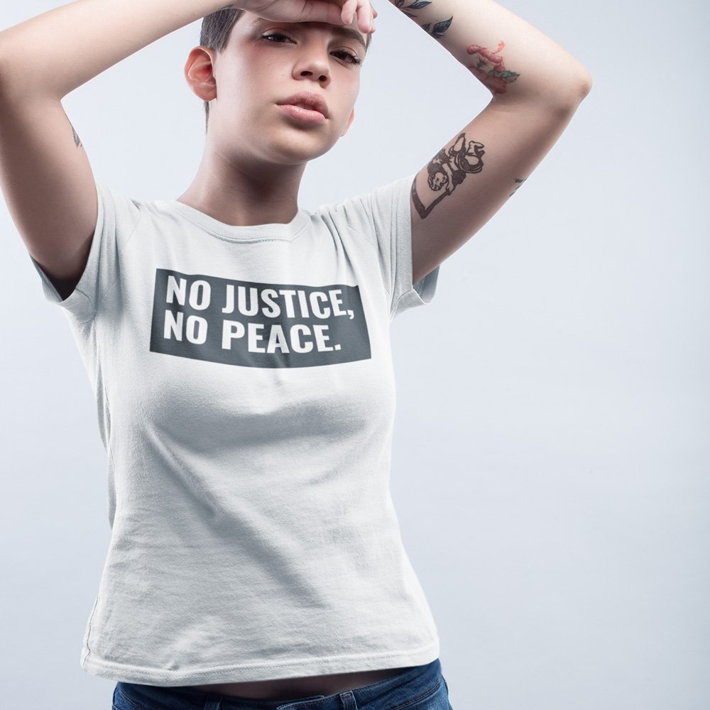 Tshirt No Justice No Peace Hands Up White