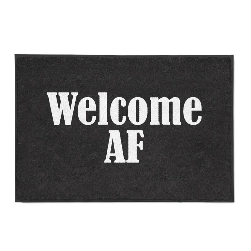 Welcome AF Doormat White Background