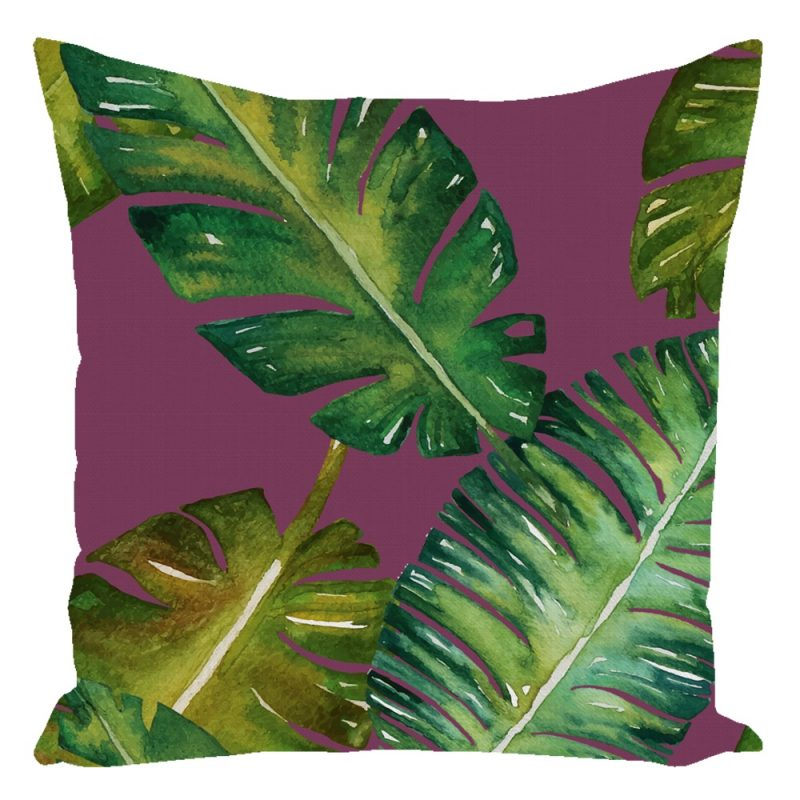 Miami Palm Throw Pillow Purple 16 X 16 With Insert