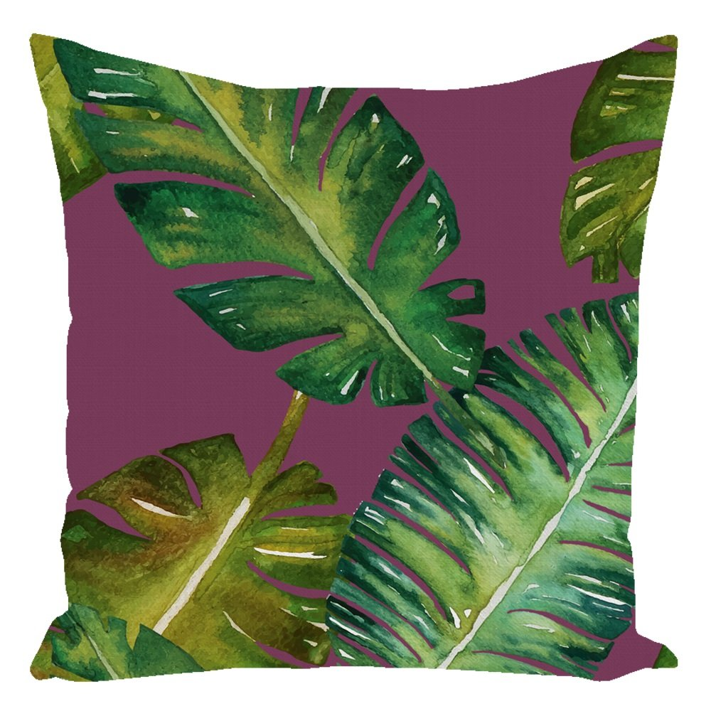 Tropical Palm Throw Pillow Violet With Zipper and Insert 16X16