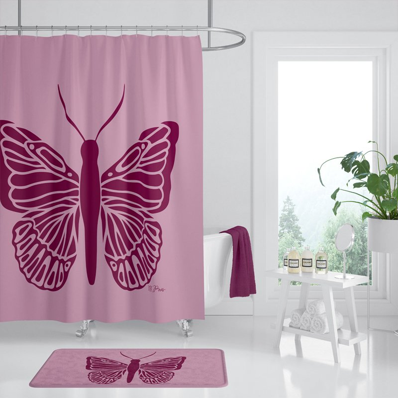 Butterfly Shower Curtain Mauve Pink