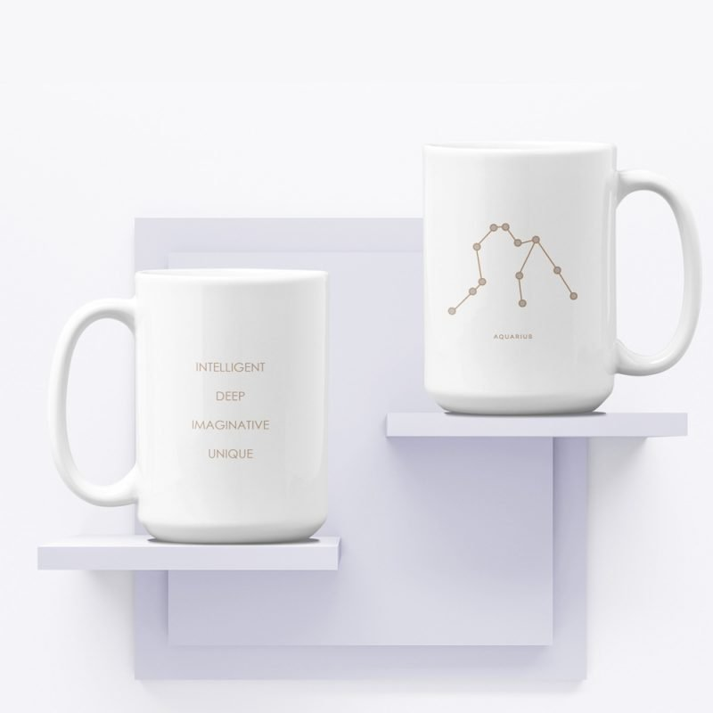 Aquarius Zodiac Mug with Constellation Astrology Traits