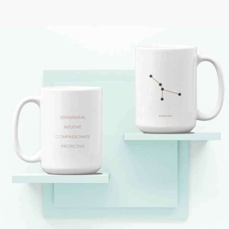 Cancer Zodiac Mug with Constellation Astrology Traits