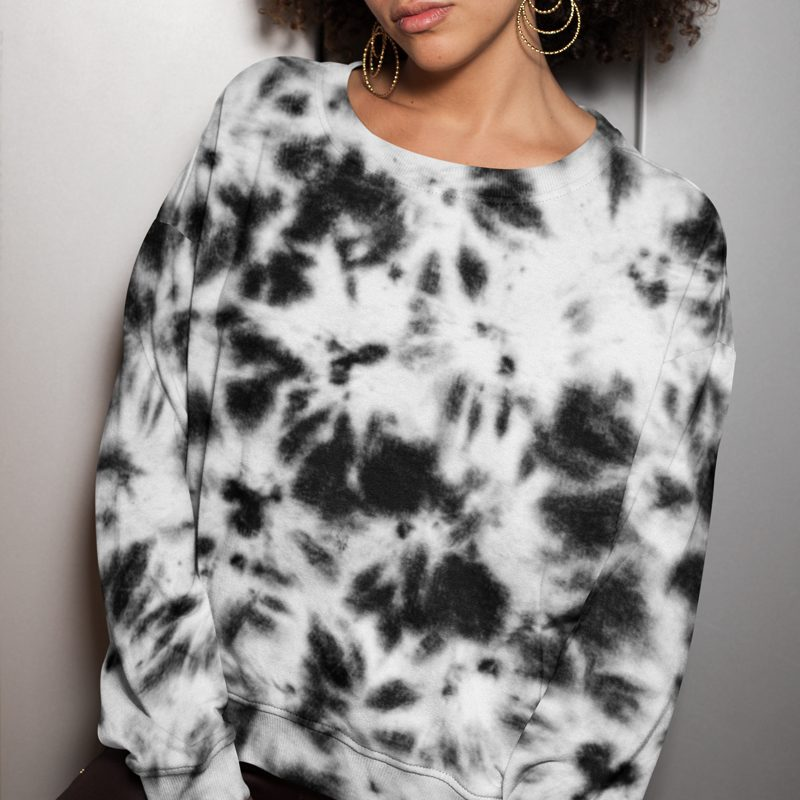Tie Dye Pullover Sweatshirt Black and White