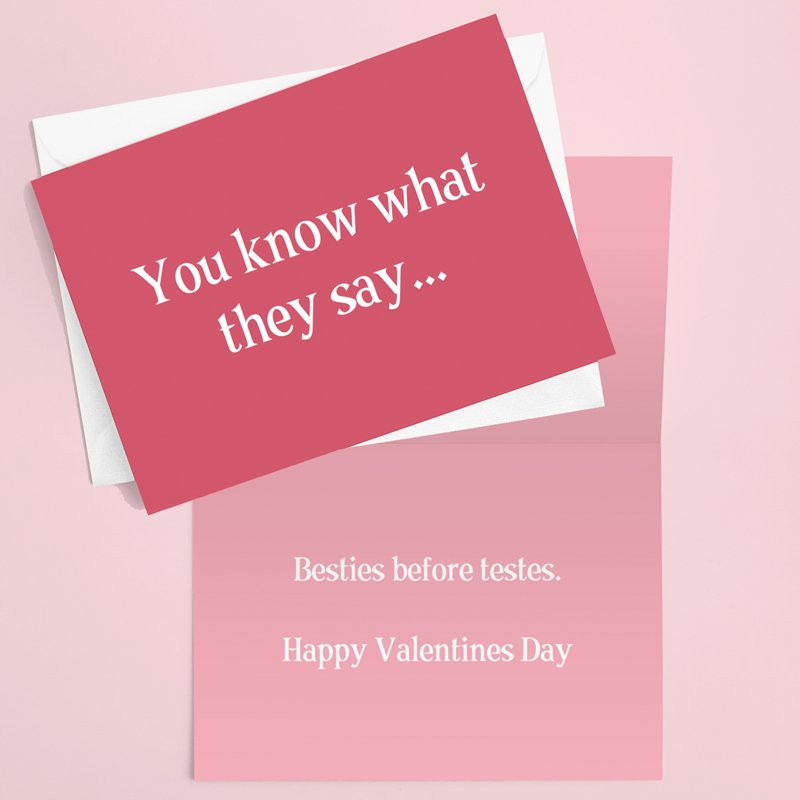 Besties Before Testes Valentines Card