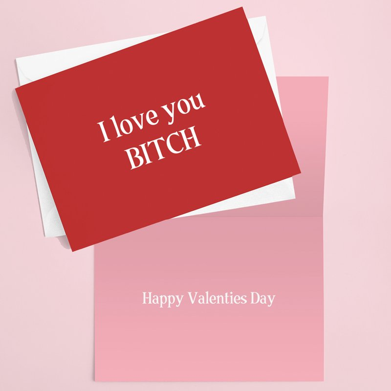 I love you BitchValentines Card 2X2