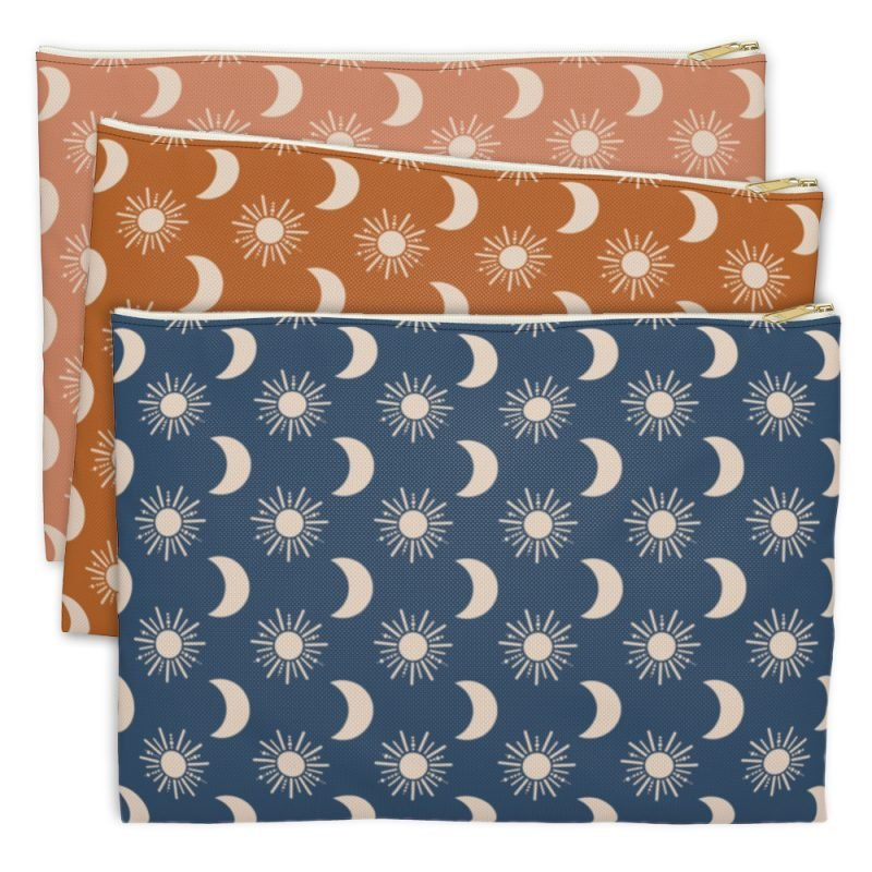Sun and Moon Zip Pouches